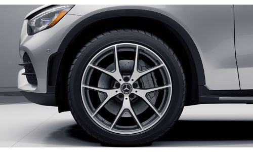 2020 Mercedes-Benz GLC SUV grey paint close up of wheel symmetrical