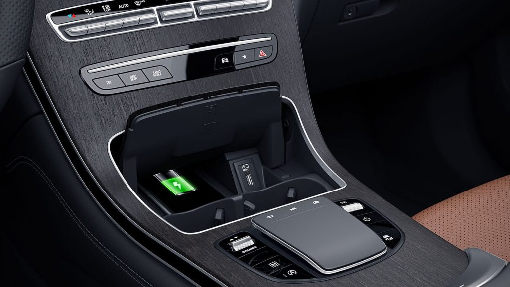 2020 Mercedes-Benz GLC SUV interior close up on charging station
