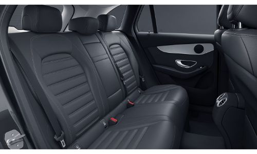 2020 Mercedes-Benz GLC SUV interior shot showing black back row of seats