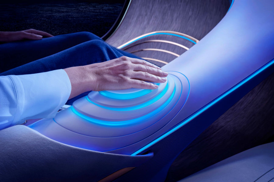Mercedes-Benz VISION AVTR Concept Vehicle Biometric Connection Control Panel