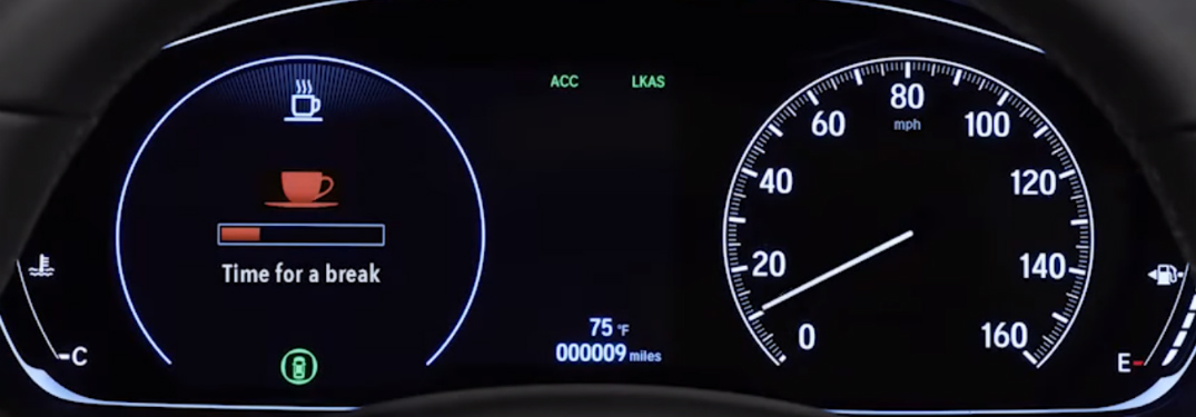 Honda Driver Attention Monitor system displayed in instrument cluster with text saying Take a break