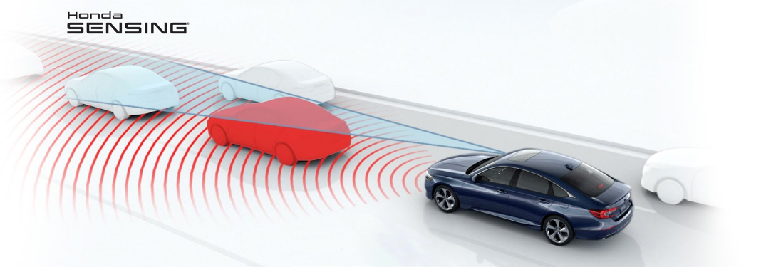 graphic of a vehicle detecting cars ahead of it on a road using radio signals with text saying Honda Sensing