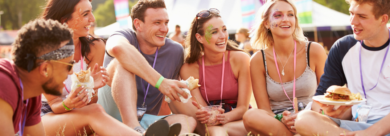 group of friends enjoying a festival