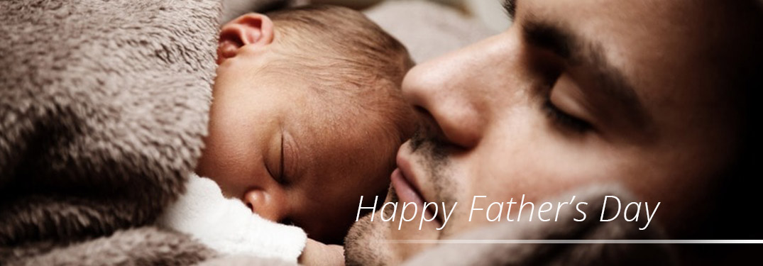 """baby sleeping with dad with overlaid text that says """"Happy Father's Day"""""""