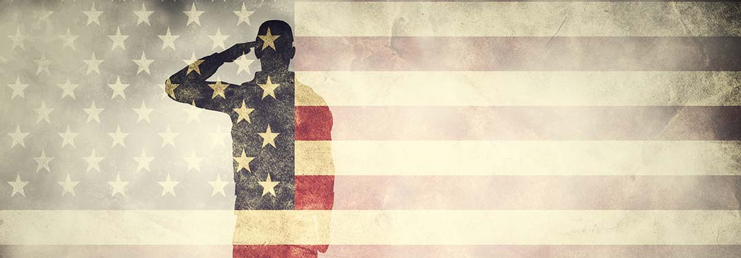silhouette of soldier over american flag