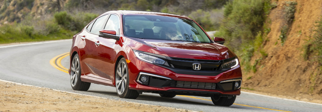 front view of red honda civic