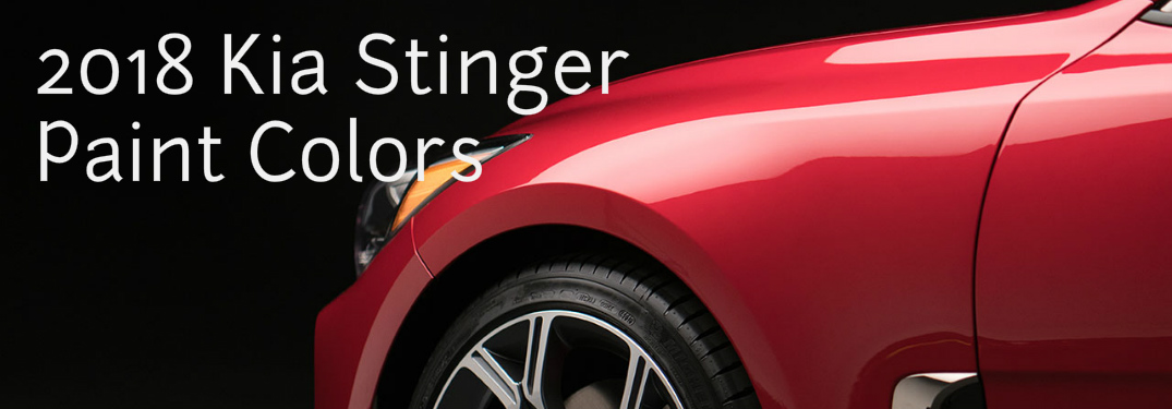 close up view of red Kia Stinger front end with text saying 2018 Kia Stinger paint colors