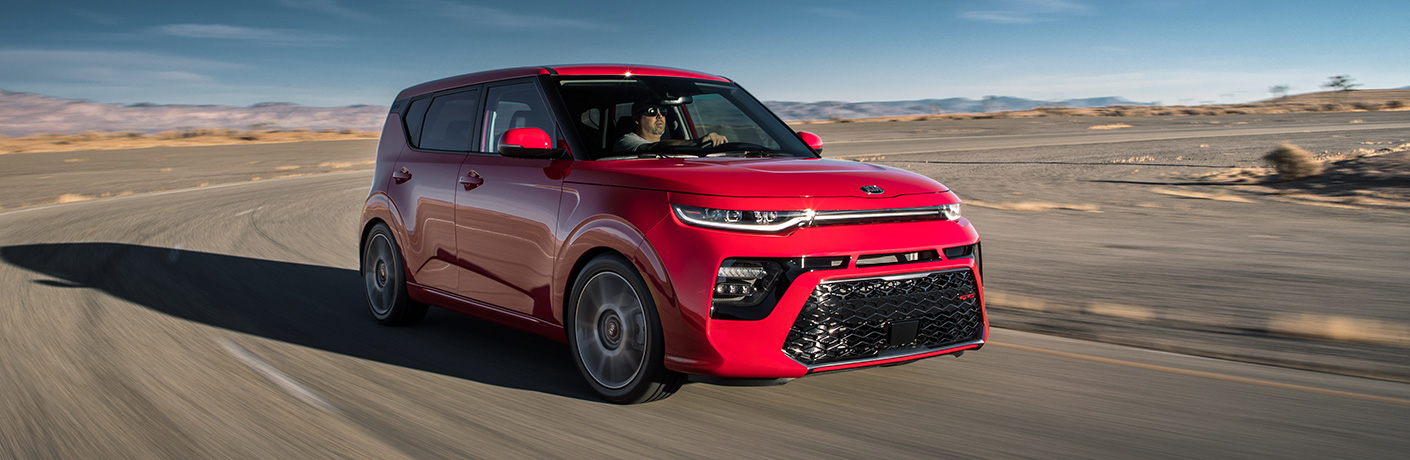 2020 Kia Soul on wide stretch of road