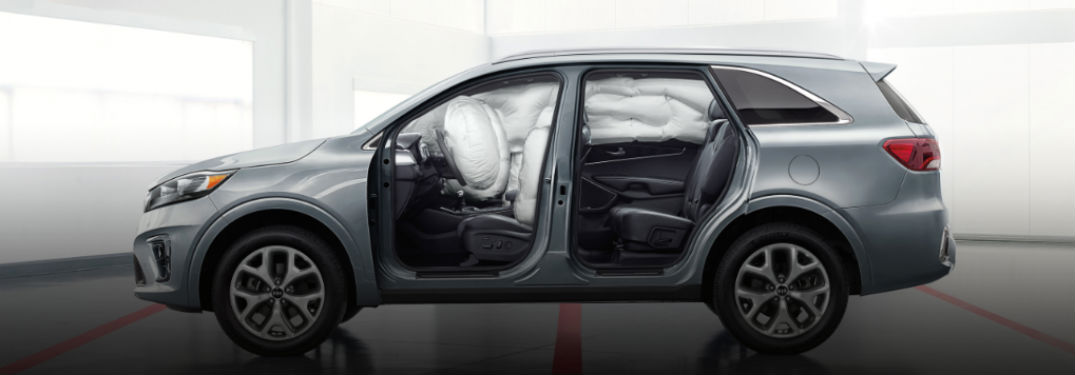 2020 Kia Sorento exterior driver side doors open with airbags deployed