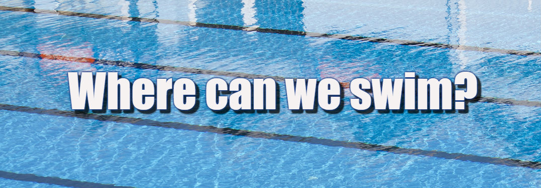 Swimming pool with Where can we swin? on it