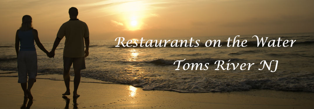 """Couple on the beach with """"Restaurants on the Water Toms River NJ"""" on it"""