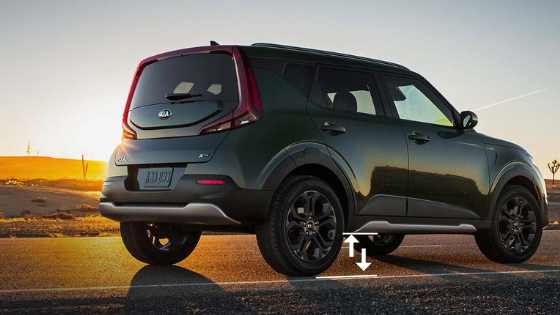 2020 Kia Soul Rear View with Ground Clearance Arrows