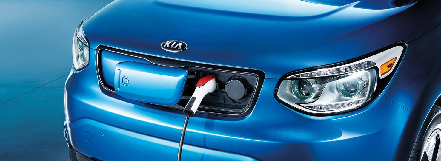 Front view of the 2019 Kia Soul EV plugged in to charge