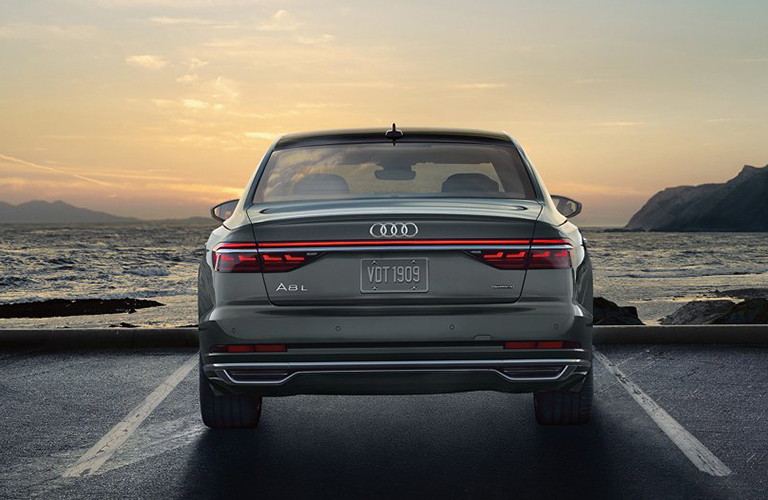Rear view of 2019 Audi A8 parked in lot