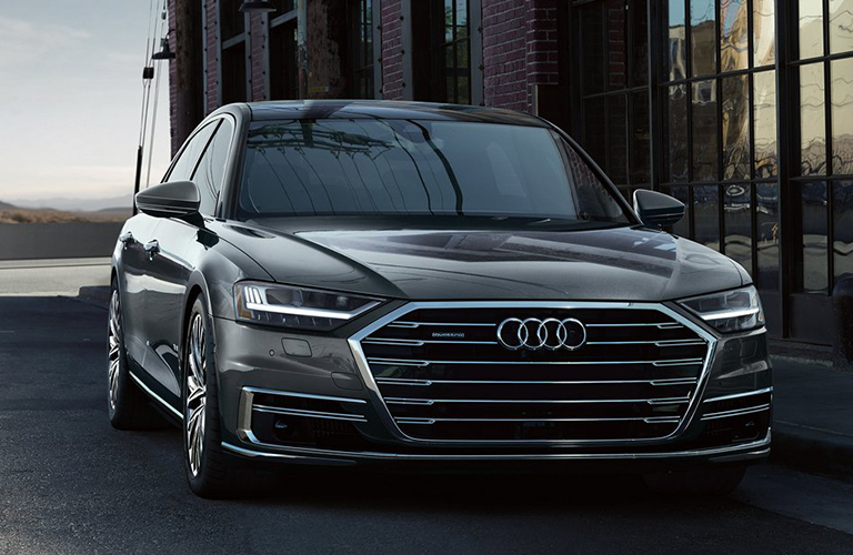 Front headlights and grille of 2019 Audi A8