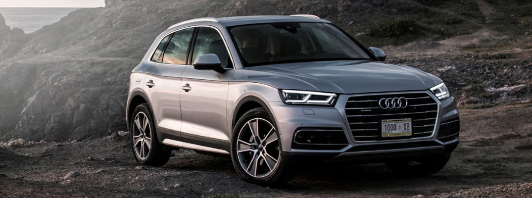 2019 Audi Q5 driving through mountains