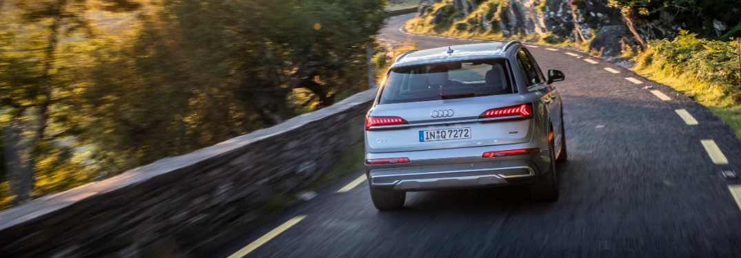 2020 Audi Q7 driving on mountain road