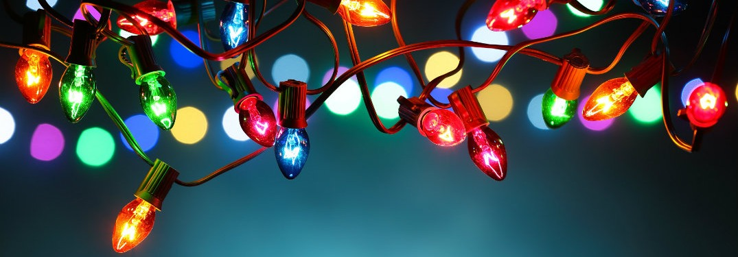 A row of holiday lights