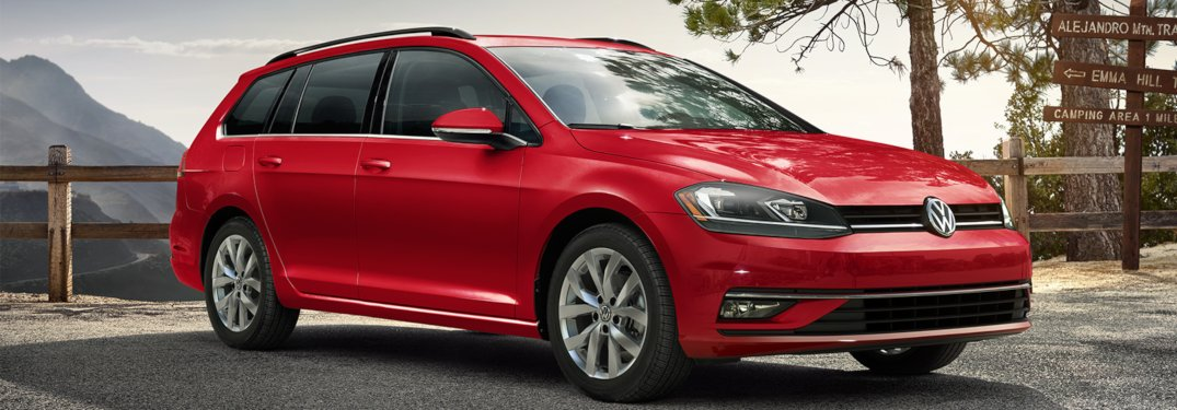 2019 Volkswagen Golf SportWagen parked on a mountain parking lot