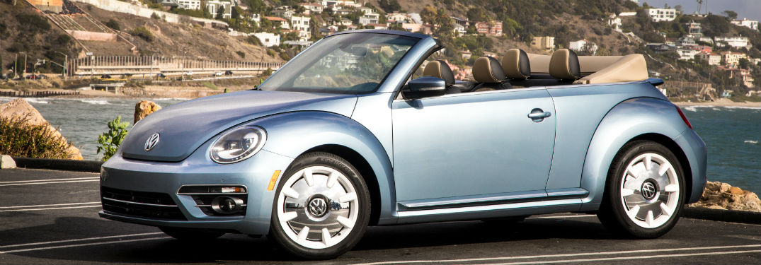 side view of a blue 2019 VW Beetle Convertible