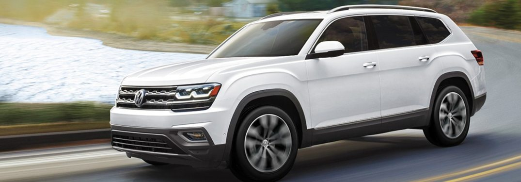 2020 Volkswagen Atlas driving down a winding road