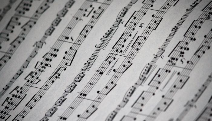 Close-up on sheet music