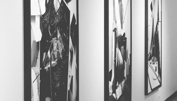 Close-up on paintings in an art gallery
