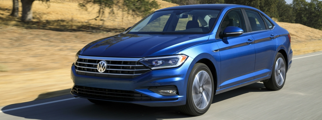 2019 VW Jetta Front View of Blue Exterior