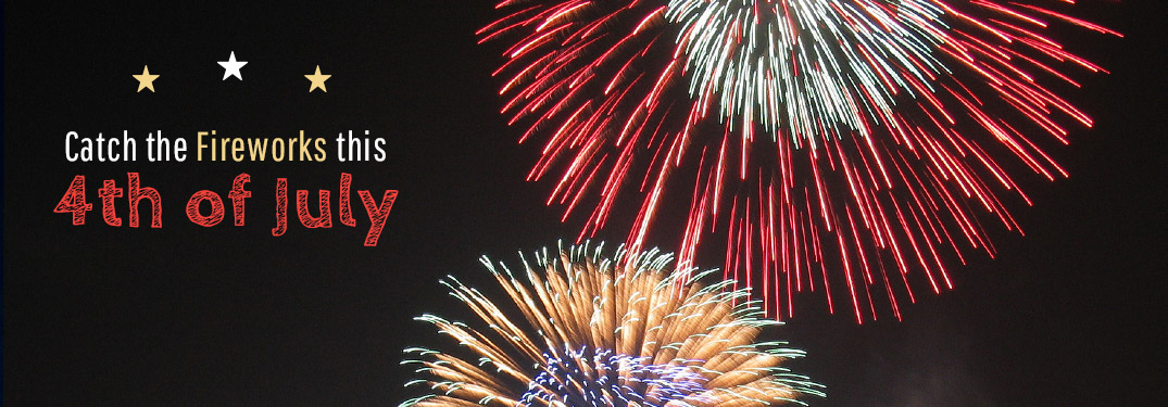 Catch the fireworks text with multi-colored fireworks