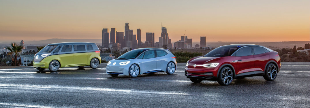 VW i.D. Family with city backdrop and sunset