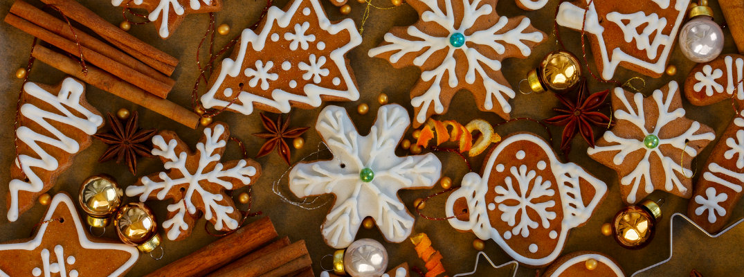 Holiday gingerbread cookies with icing