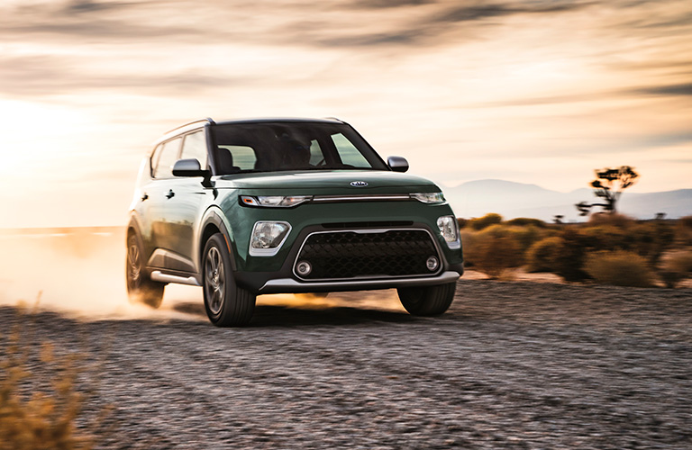 Exterior view of the front of a green 2020 Kia Soul