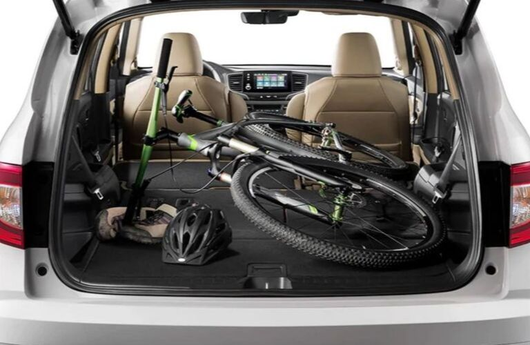 Interior view of the cargo space offered inside the 2020 Honda Pilot