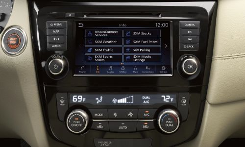 2020 Nissan Rogue close up of infotainment and environmental controls
