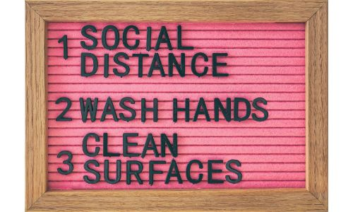 sign for social distance washing hands clean surfaces
