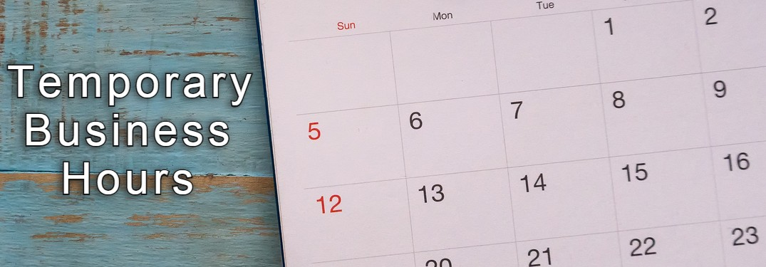 temporary business hours on top of stock photo of calendar