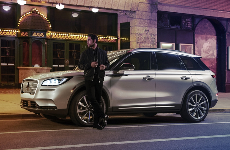 2020 Lincoln Corsair with man next to the vehicle