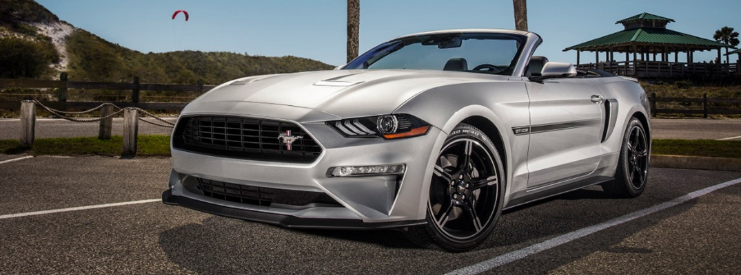 Exterior view of silver 2019 Ford Mustang