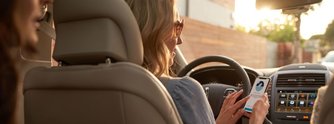 Rear view of woman in drivers seat holding phone