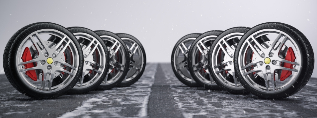 Lineup of eight tires