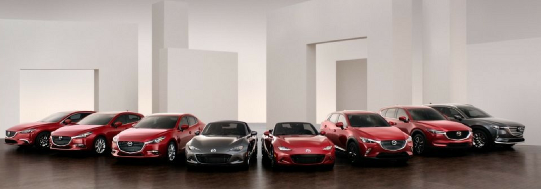 2018 Mazda lineup in a large room