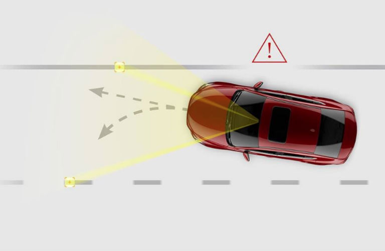 Diagram of the 2018 Mazda6 lane-keep assist system in action