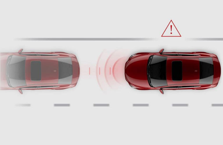 Diagram of the 2018 Mazda6 advanced smart city brake support system in action