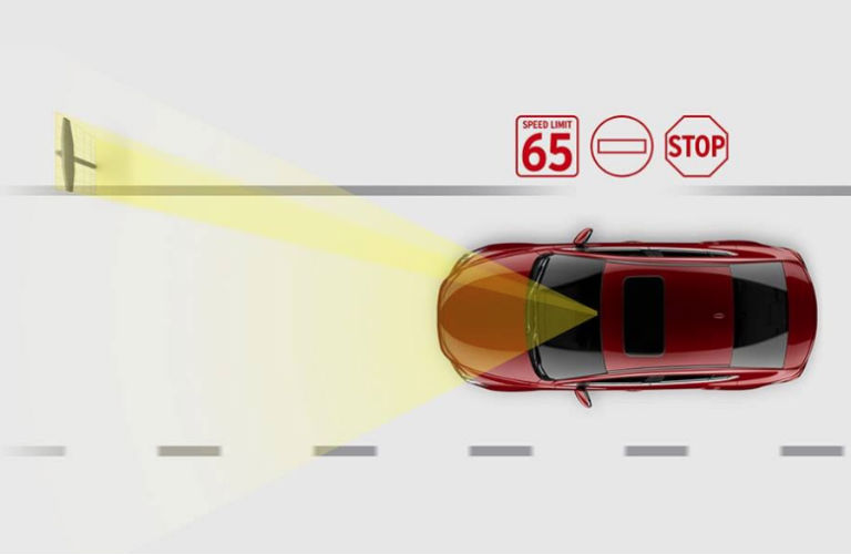 Diagram of the 2018 Mazda6 traffic sign recognition system in action