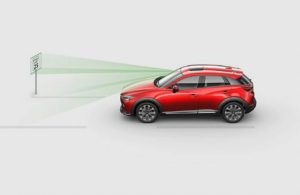 2019 Mazda CX-3 diagram showing how the Traffic Sign Recognition System works