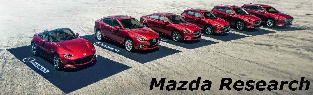 Mazda vehicles lined up with model research text in corner
