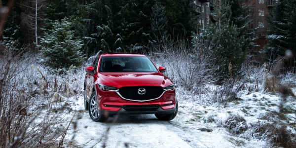 Red 2019 Mazda CX-5 on snow