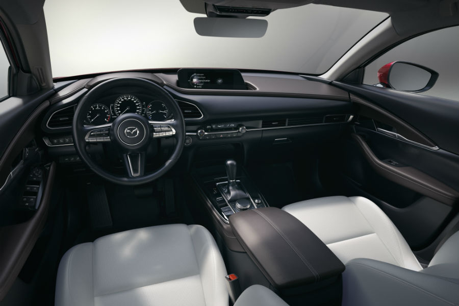 An interior photo of the 2020 Mazda CX-30 showing the vehicle's dashboard.