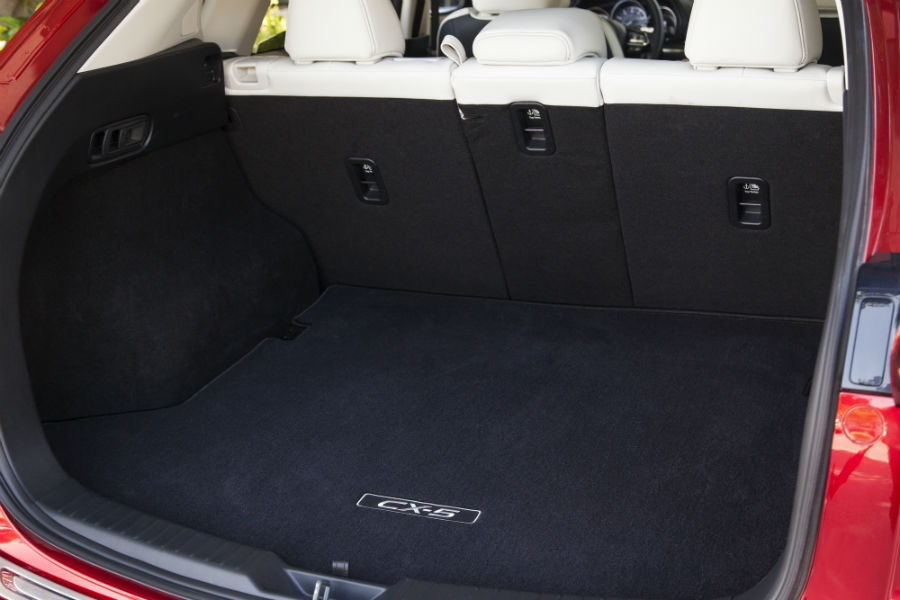 A photo of the cargo bay in the 2019 Mazda CX-5 with the rear seats deployed.