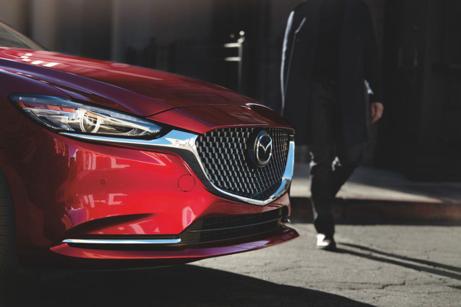 A photo of one headlight on the 2019 Mazda6.